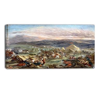 Designart – Imprimé sur toile, paysage, Botzaris surprend le camps des turcs, Eugène Delacroix (PT4365-32-16)