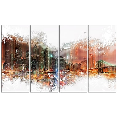 Designart Abstract Night Cityscape Canvas Art Print, 4 Panels, (PT3315-271)