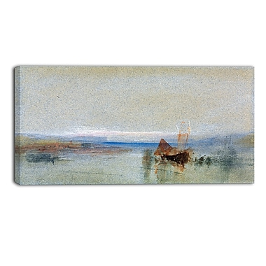 Designart JMW Turner, Fishing Boats Becalmed off le Havre Sea & Shore Canvas Art Print, (PT4604-32-16)