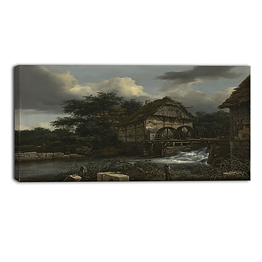 Designart Jacob van Ruisdael, Two Watermills and an Open Sluice Canvas Art Print, (PT4528-40-20)
