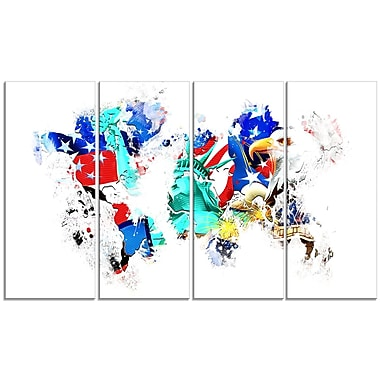 Designart East to West Coast City On the Map 4-Panel Canvas Art Print, (PT2831-271)