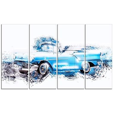 Designart – Voiture ancienne bleu pastel, toile de style galerie, 4 panneaux