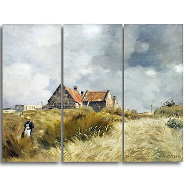 Designart Jean Charles Cazin, Cottages in the Dunes Canvas Art Print, (PT4581-3P)
