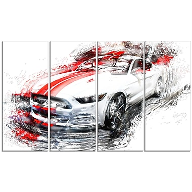 Designart White and Red Sports Car Large Gallery Wrapped Canvas, (PT2613-271)