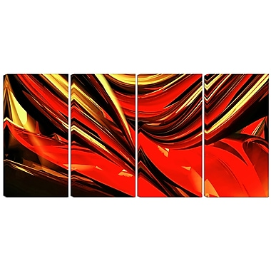 Designart Red Lava Ribbons 4-Panel Abstract Canvas Art Print, (PT3031-271)