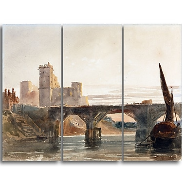 Designart – Toile imprimée de Peter De Wint « Castle from the Bridge » (PT4828-3P)