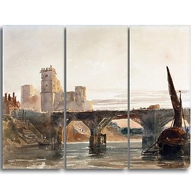Designart Peter DeWint, Castle from the Bridge Canvas Art Print, (PT4828-3P)