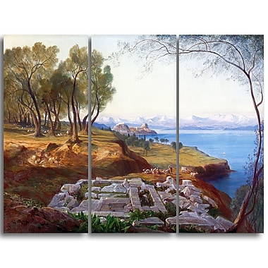 Designart Edward Lear, Corfu from Ascension Landscape Canvas Art Print, (PT4330-3P)