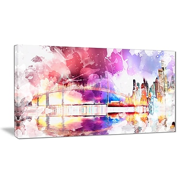 Designart Magic Colourful City art Night Canvas Art, (PT2815-32-16)