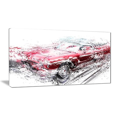Designart Red Low Rider Convertible Canvas Art Print, (PT2642-32-16)