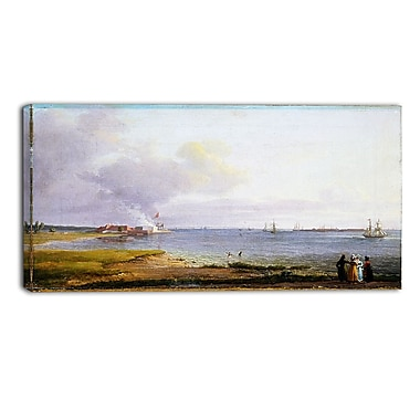 Designart JC Dahl, View Over Oresund Near the Lime Works Sea & Shore Canvas Art Print, (PT4571-32-16)