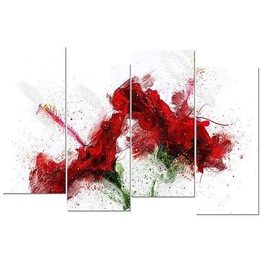 Designart – Art imprimé sur toile, lis rouges, (PT3405-271)