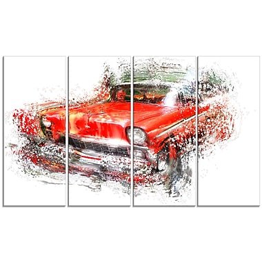 Designart Orange Classic Car Gallery-Wrapped Canvas, (PT2626-271)