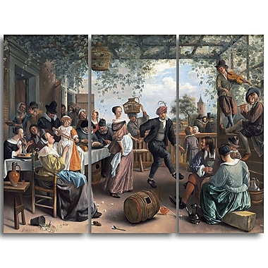 Designart Jan Steen, The Dancing Couple Canvas Art Print, (PT4554-3P)