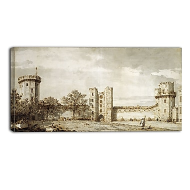 Designart Canaletto, Warwick Castle The East Front Landscape Canvas Arwork, (PT4199-40-20)