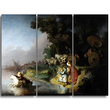 Designart Rembrandt Harmensz, The Abduction of Europa Canvas Art Print, (PT4876-3P)