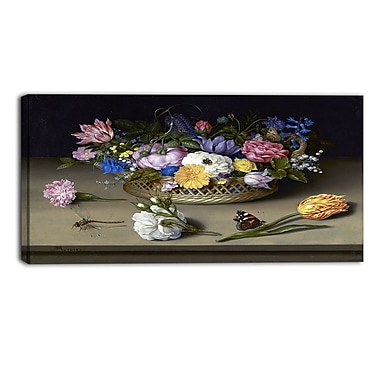 Designart Ambrosius Bosschaert, Flower Still Life Canvas Art Print, 4 Panels, (PT4135-32-16)