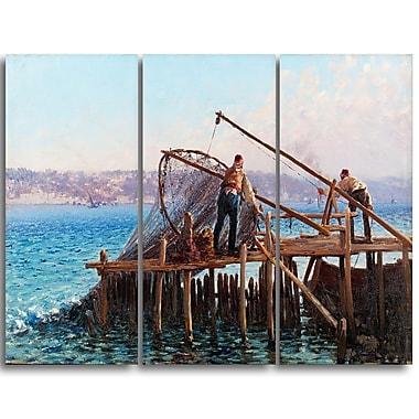 Designart – Fausto Zonaro, Pêcheurs qui ramènent leur prise, mer et rivage, imprimé sur toile (PT4372-3P)