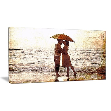 Designart Baby Kiss By the Water Sensual Canvas Art Print, 32x16, (PT2913-32-16)