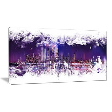 Designart Abstract Purple Cityscape Canvas Art Print, 4 Panels, (PT3320-40-20)