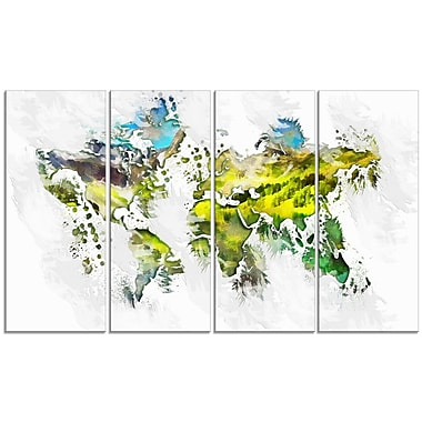 Designart Natural World Map Canvas Art Print, (PT2732-271)