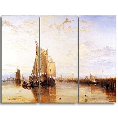 Designart JMW Turner, The Dort Packet-Boat from Rotterdam Becalmed Canvas Art Print, (PT4609-3P)