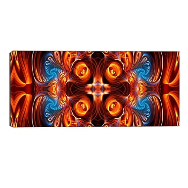 Designart Orange and Blue Mirrored Art Modern Canvas Art Print, (PT3075-32-16)