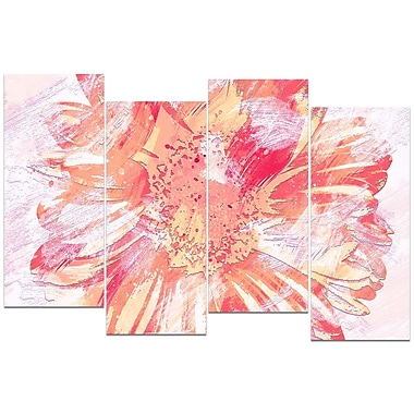 Designart GrapeFruit Colour Flower 4-Panel Canvas Art Print, (PT3420-3-271)