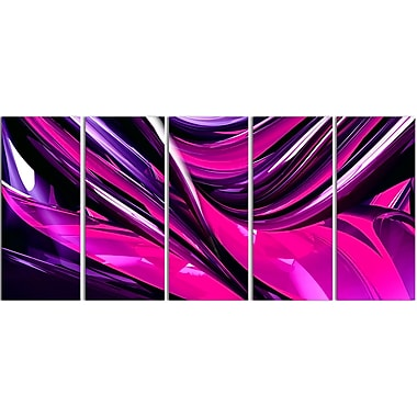 Designart Pink & Purple Ribbons 5-Panel Modern Canvas Art Print, (PT3040-401)