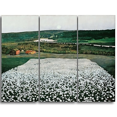 Designart Harald Sohlberg, Flower Meadow in the North Lansdcape Canvas Artwork, (PT4481-3P)
