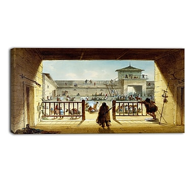 Designart Alfred Jacob Miller, Interior of Fort Laramie Large Landscape Canvas Art Print, (PT4125-40-20)