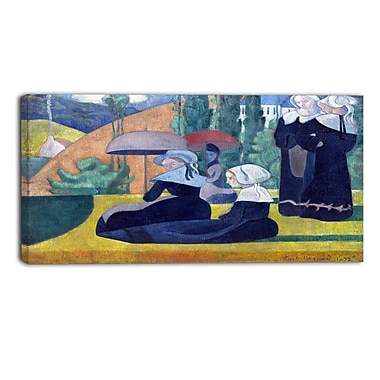 Designart Emile Bernard, Breton Women with Umbrellas Canvas Art Print, (PT4357-40-20)