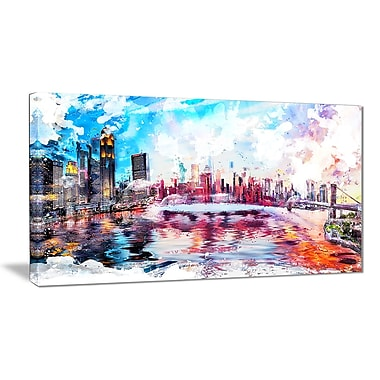 Designart Vibrant New York Cityscape Canvas Art Print, (PT3308-32-16)