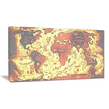 Designart – Art imprimé sur toile, carte du monde flou orange (PT2711-32-16)