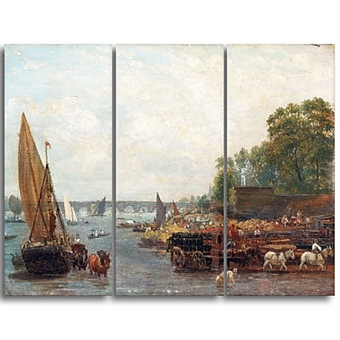 Designart Frederick Nash, Westminster Bridge Canvas Art Print, (PT4401-3P)