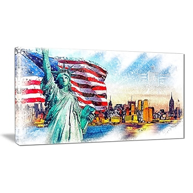 Designart Colourful Liberty Lady Canvas Art, (PT2823-32-16)