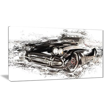 Designart Black Convertible Roadster Canvas Art Print, (PT2651-32-16)