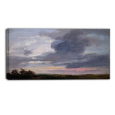 Designart – JC Dahl, étude nuages au-dessus de grand paysage plat, océan et rivage, imprimé sur toile (PT4576-32-16)