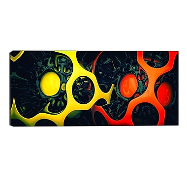 Designart Orange and Yellow Geo Art Contemporary Canvas Art, (PT3059-32-16)