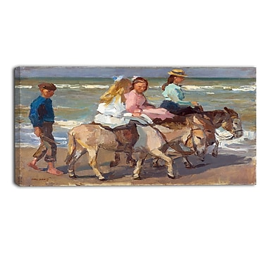 Designart Isaac Israels, Donkey Riding Sea & Shore Canvas Artwork, (PT4511-32-16)