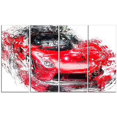 Designart Red Exotic Car, 4 Piece Gallery-Wrapped Canvas, (PT2634-271)