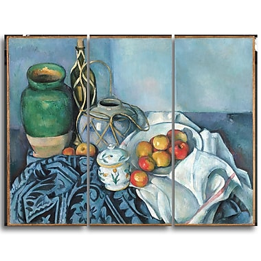 Designart Paul Cezanne, Still Life with Apples Canvas Art Print, 3 Panels, (PT4778-3P)
