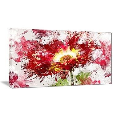Designart Red Abstract Sunflower Canvas Art Print, 40