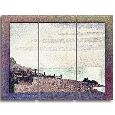Designart Georges Seurat, Evening, Honfleur Sea & Shore Canvas Artwork, (PT4429-3P)
