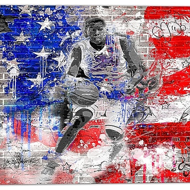 Designart American Basketball Street Art Canvas Artwork, (PT3635-30-30)