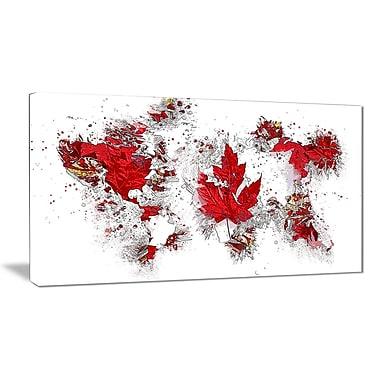 Designart Canadian Flag Map Canvas Art Print, (PT2741-32-16)