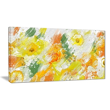 Designart Abstract Daisies Canvas Art Print, (PT3425-32-16)