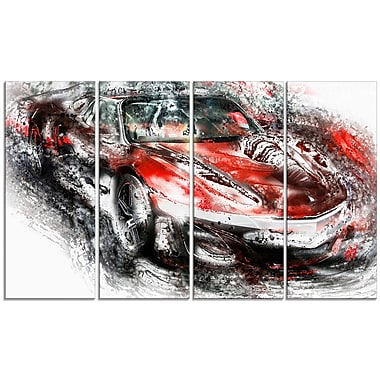 Designart Black and Red Sports Car Large Gallery Wrapped Canvas, (PT2618-271)