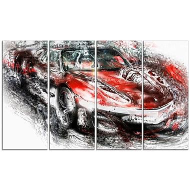 Designart – Voiture sport rouge et noire, grande toile de style galerie (PT2618-271)