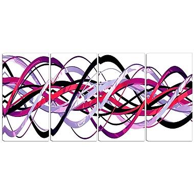 Designart – Imprimé moderne sur toile, spirale rose et violette, 4 panneaux (PT3044-271)